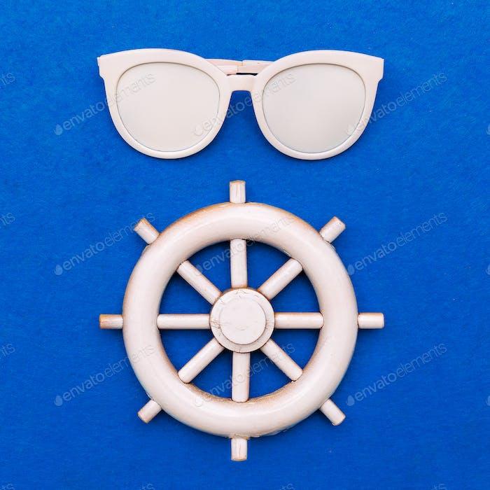Stylish accessory sunglasses. Sea vibes. Art design fashion mini