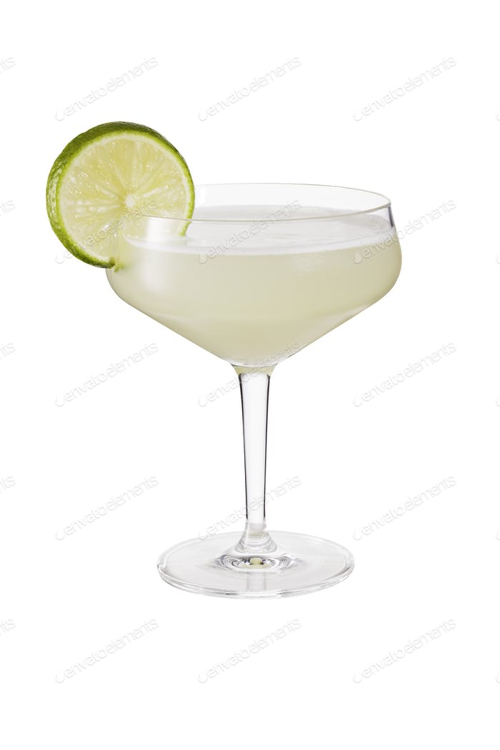 Refreshing Rum Daiquiri Cocktail on White