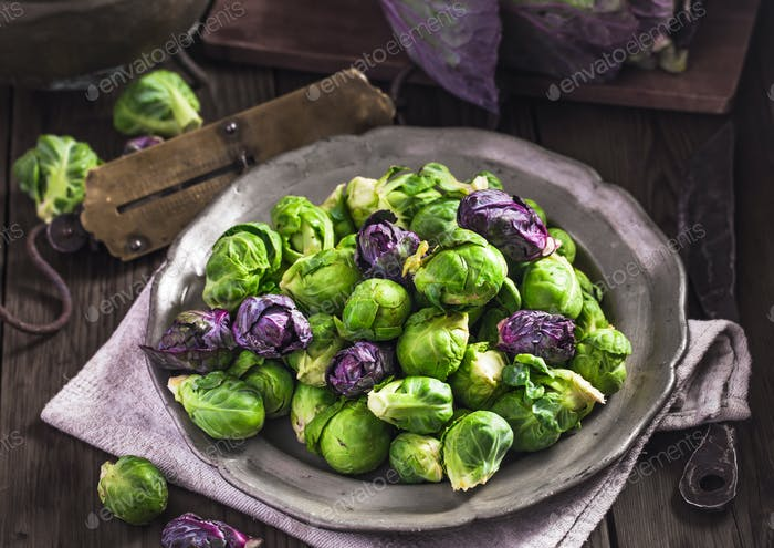 Uncooked Brussels sprouts