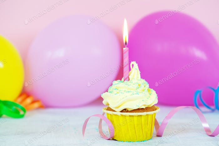 Birthday Cupcake Decorated with Candle