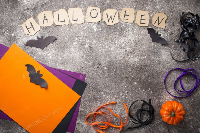 Paper and ribbon for Halloween DIY