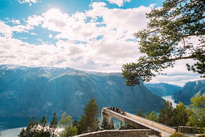 Aurlandsvangen, Norway. Tourists People Visiting Stegastein View