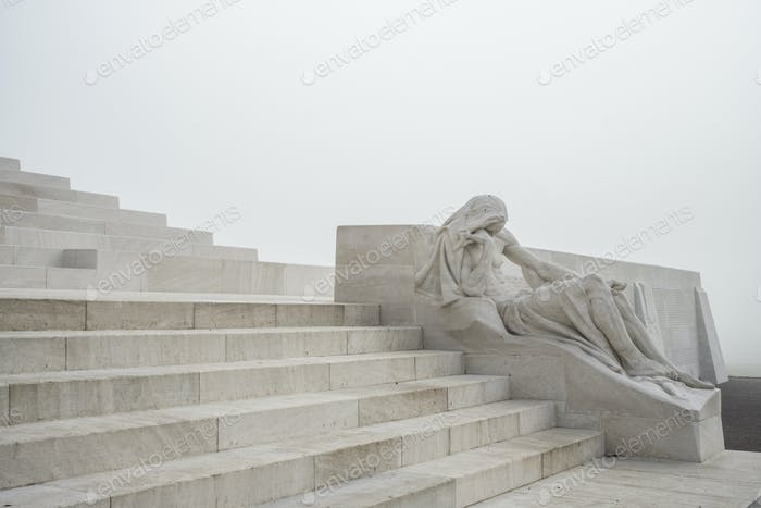 Statue and stairway at the Canadian World War One Memorial, Vimy Ridge National Historic Site of