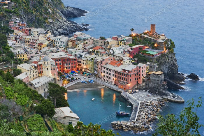 Elevated View of Vernazza at Dusk