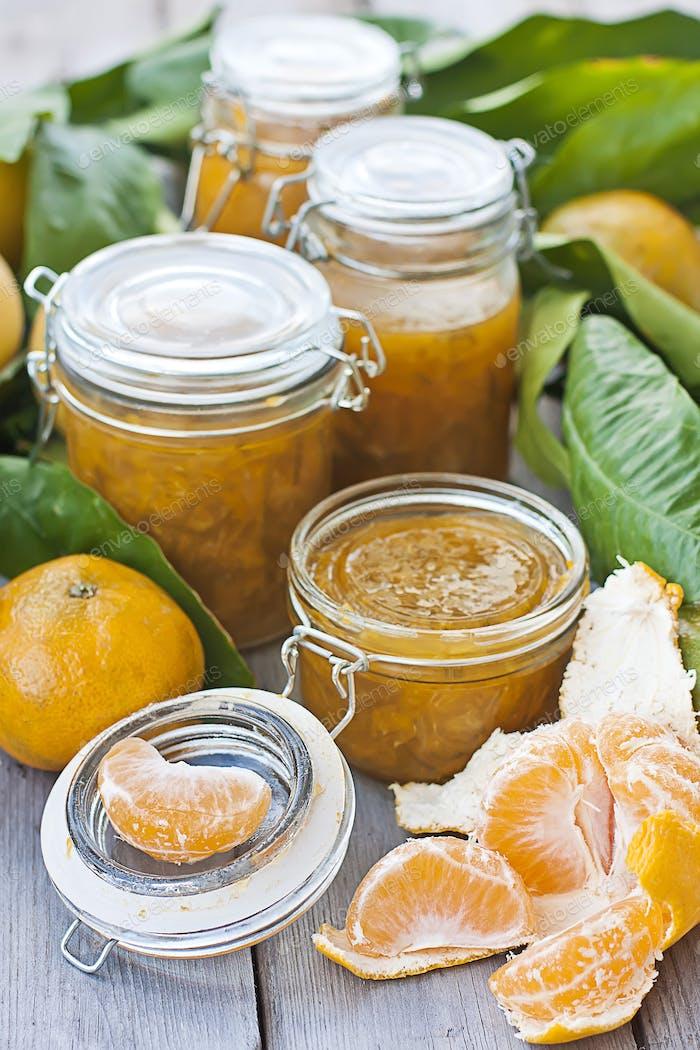 Jars with mandarine jam