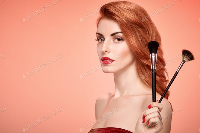 Fashion Beauty Redhead, Natural Makeup. Skincare
