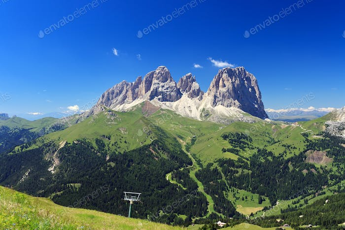 Sassolungo mount and Fassa Valley