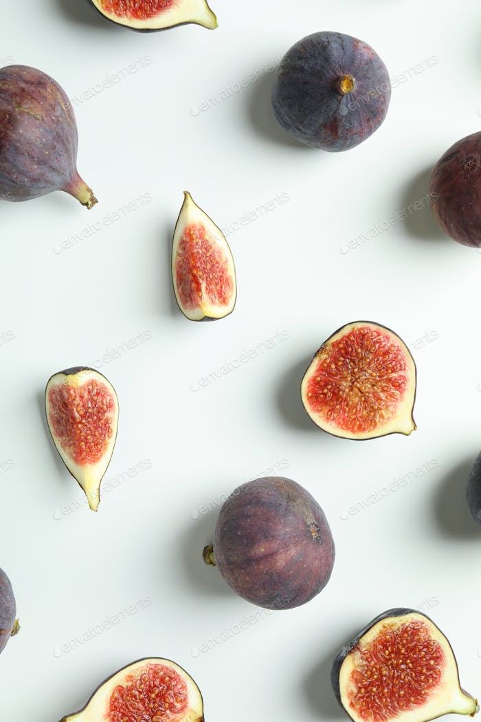 Flat lay with fig on white background