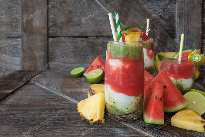 Colorful smoothie with fresh fruits and yogurt