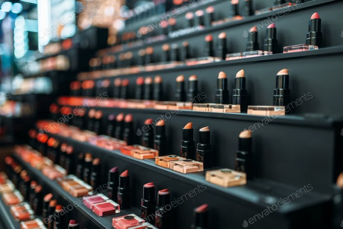 Face cosmetic, lipstick collection in beauty shop