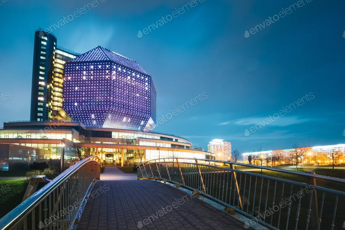 Minsk, Belarus. National Library Building In Evening Night Illum