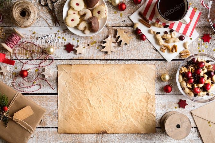 Christmas composition, studio shot, wooden background.Copy space