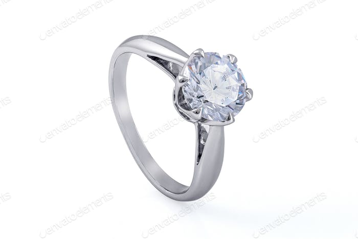 Silver Ring with Swarovski Crystals on White Background