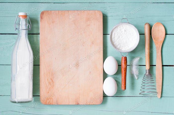 Küchenhintergrund mit Zutaten