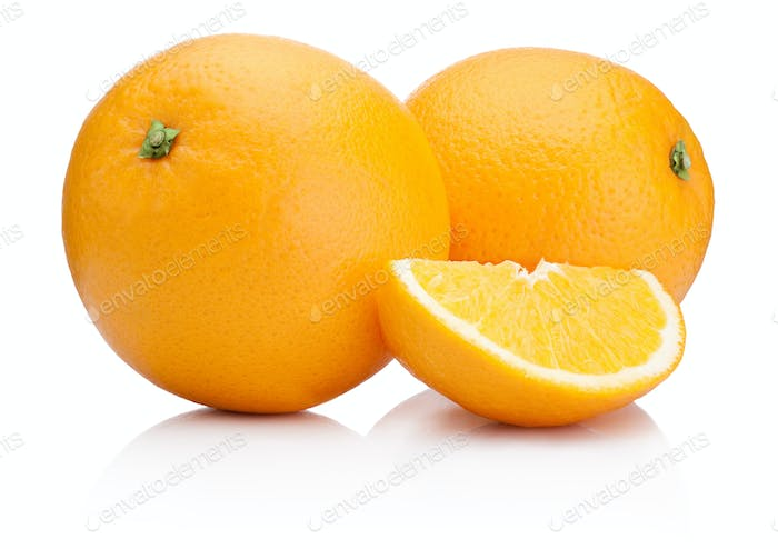 Two Ripe Oranges fruit and slice isolated on white background