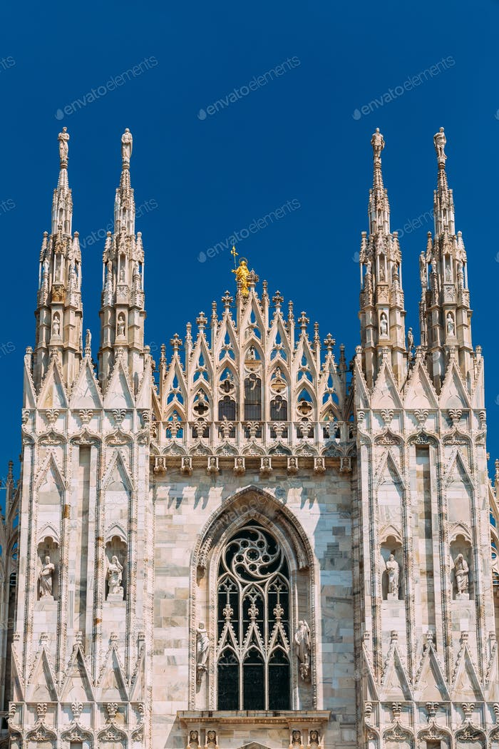Detail of Milan Cathedral or Duomo di Milano in Milan, Italy.