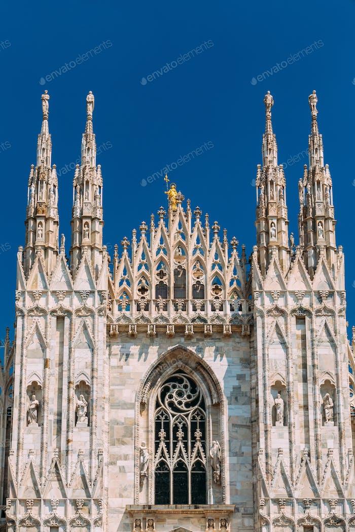Detail of Milan Cathedral or Duomo di Milano in Milan, Italy.