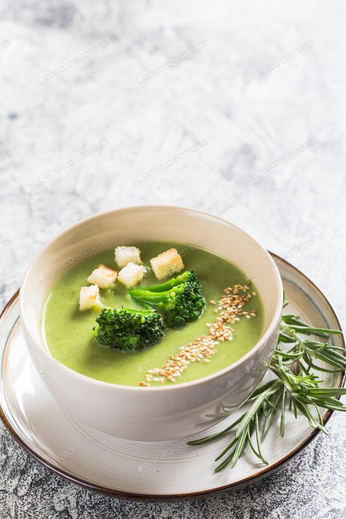 Spring detox Broccoli cream soup with sesame seeds