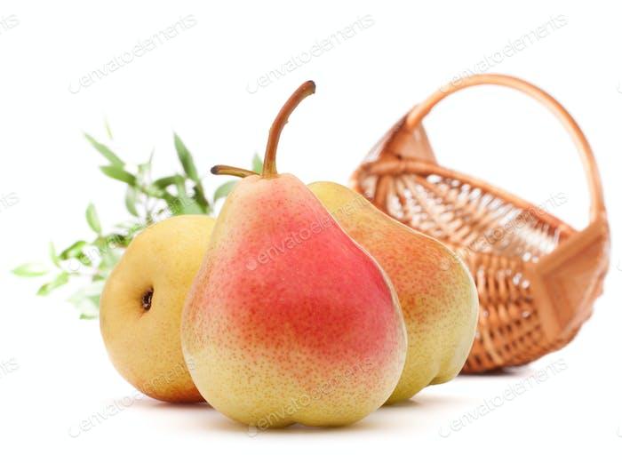 Birnenfrucht und Weidenkorb isoliert auf weißem Hintergrund Ausschnitt. Herbsterntekonzept.
