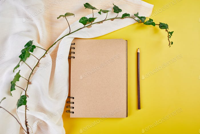 Flat lay top view notebook, notes with flowers Future family, house, life goals