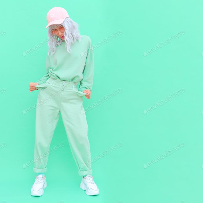Vanilla Mint urban style. Girl 90s aesthetic. Monochrome color trends. Aqua Menthe mood