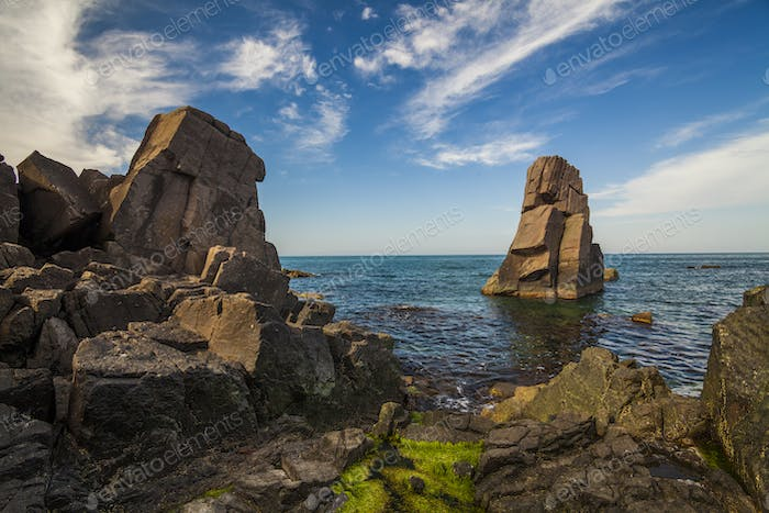 Picturesque sea landscape with rocky shore. Bulgaria.