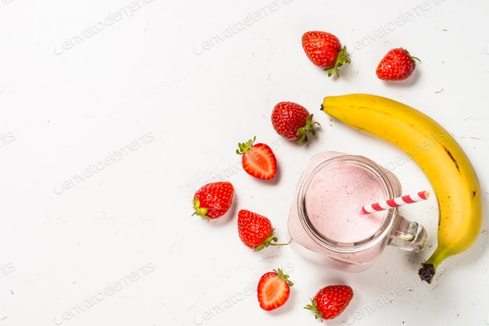 Strawberry milkshake or smoothie in mason jar