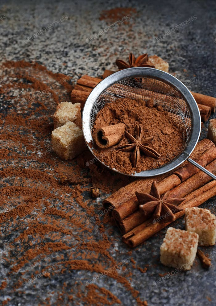 ?ocoa powder, cinnamon sticks and anise