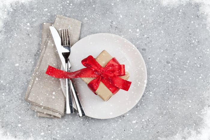 Christmas or Valentines day table setting