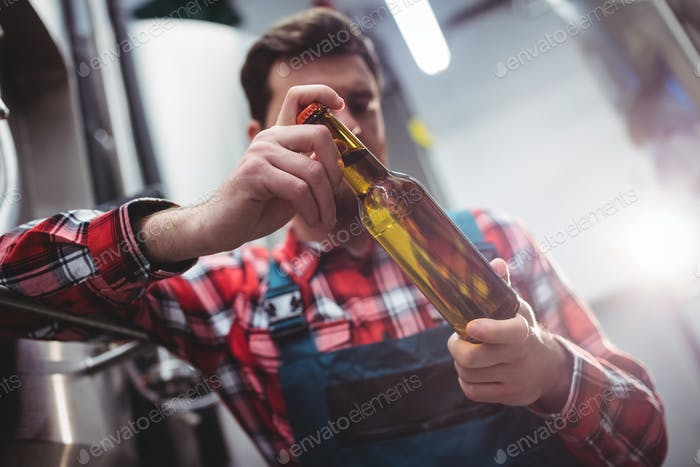 Manufacturer examining beer bottle at brewery