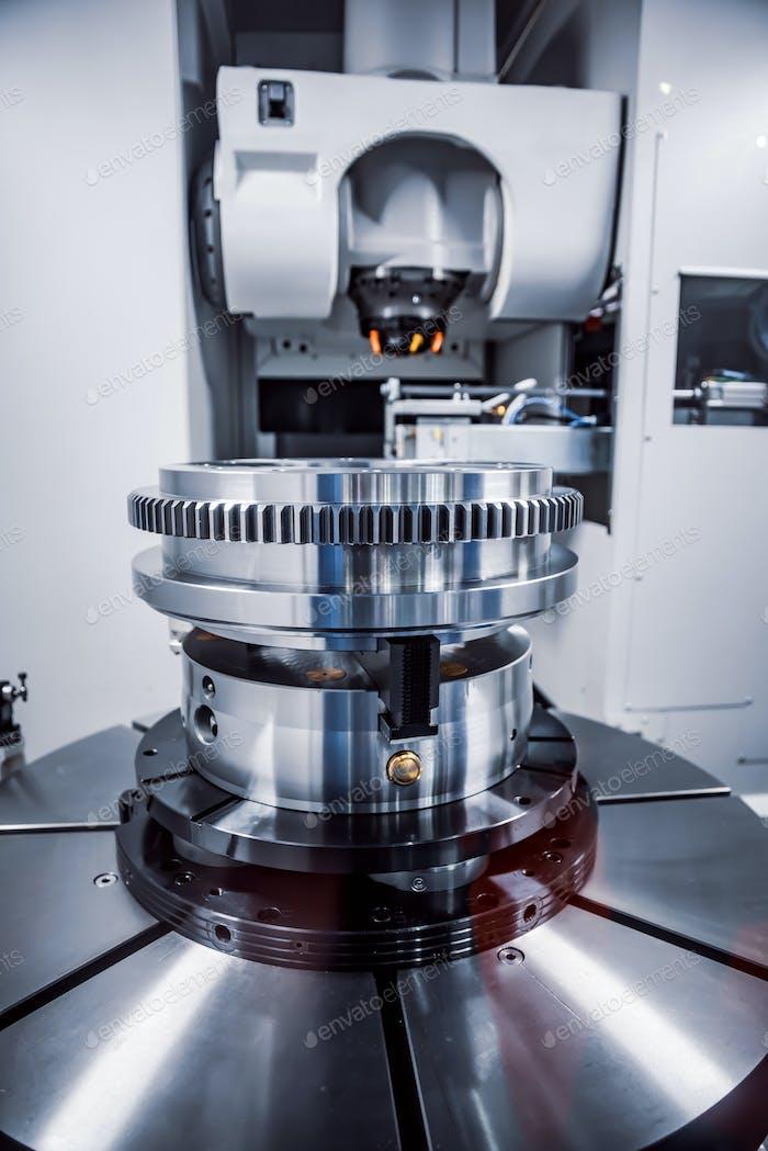 Metalworking CNC milling machine. Cutting metal modern processin