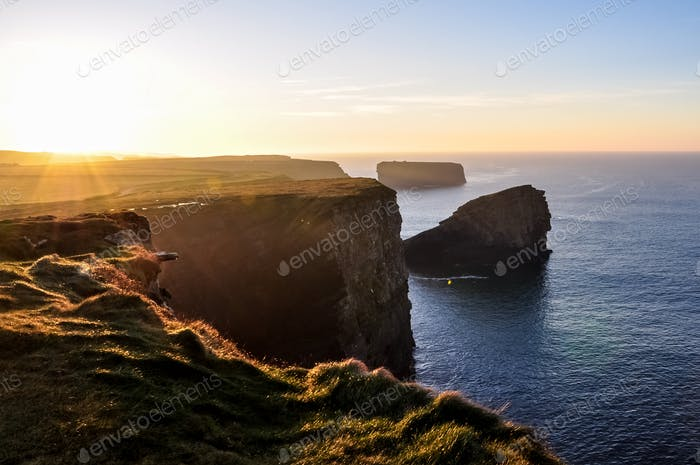 Path along the cliffs of Kilkee in Ireland tourist attraction