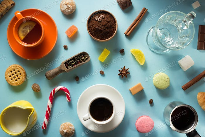 cup of coffee, tea and cacao