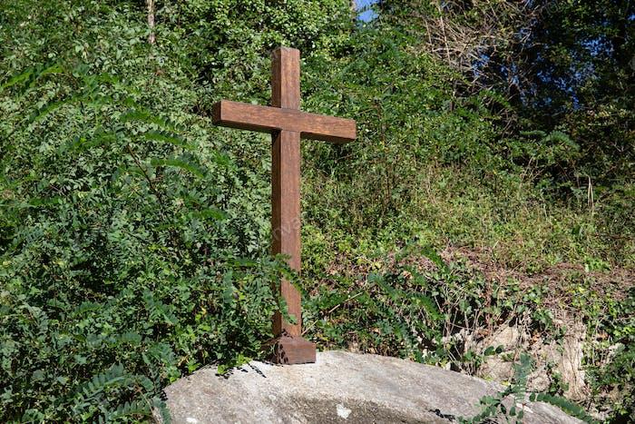 Beautiful wooden cross on outdoors