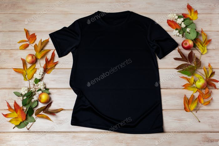 Unisex black T-shirt mockup with snowberry and fall leaves