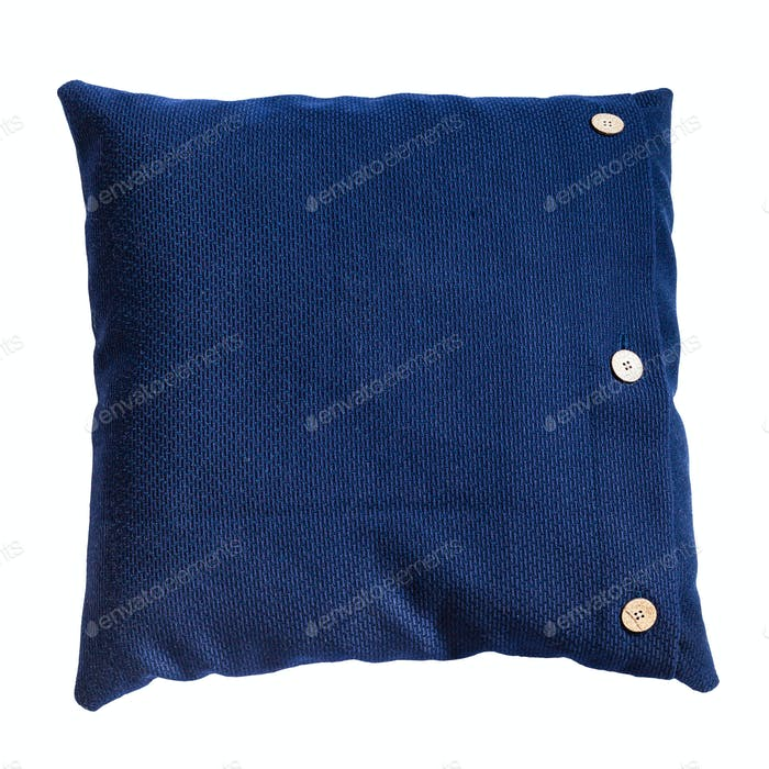 handmade blue decorative pillow isolated