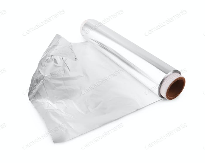 A roll of aluminum foil isolated on white background
