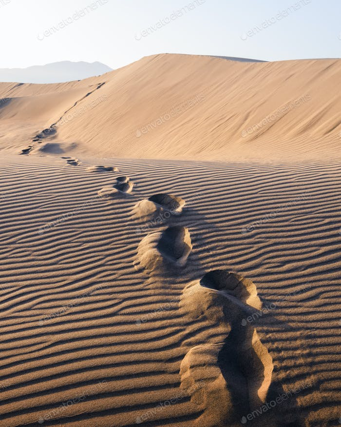 Footprints on sand in the desert