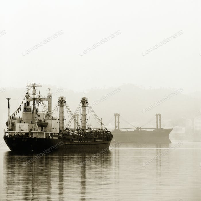 Shipping Boats in the Mist