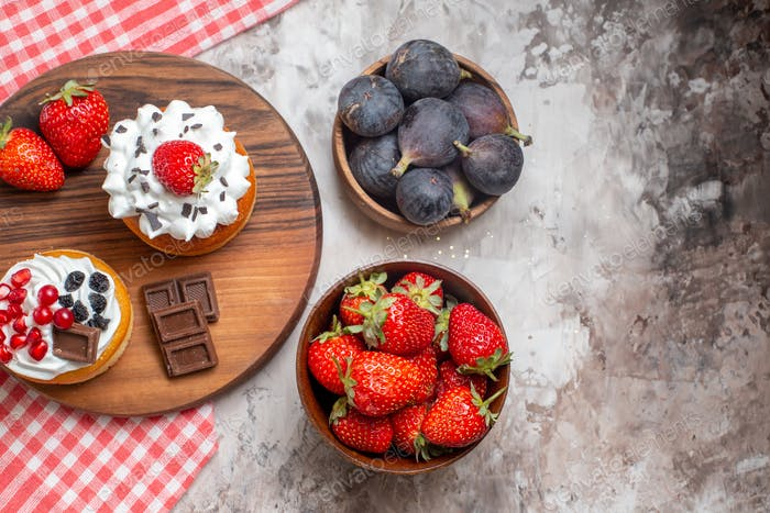 top view delicious cakes with fresh fruits on light background biscuit christmas dessert color