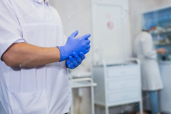 The surgeon wears gloves before surgery. Close-up