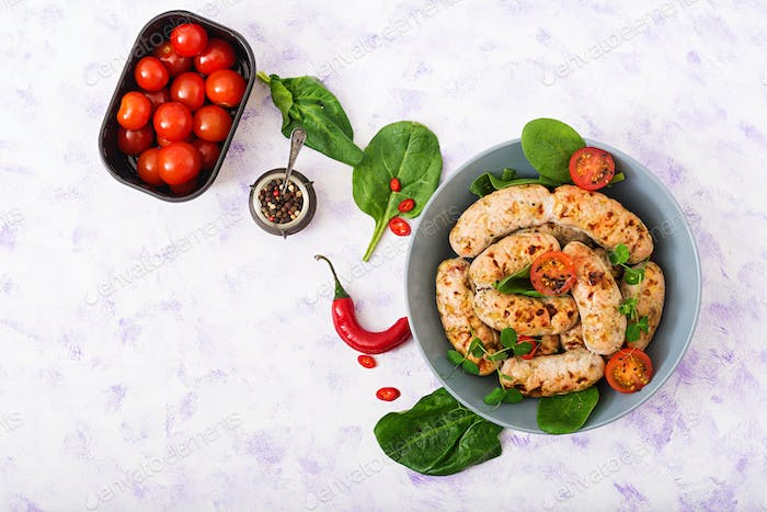 Dietary sausages from turkey fillet and mushrooms. Flat lay. Top view