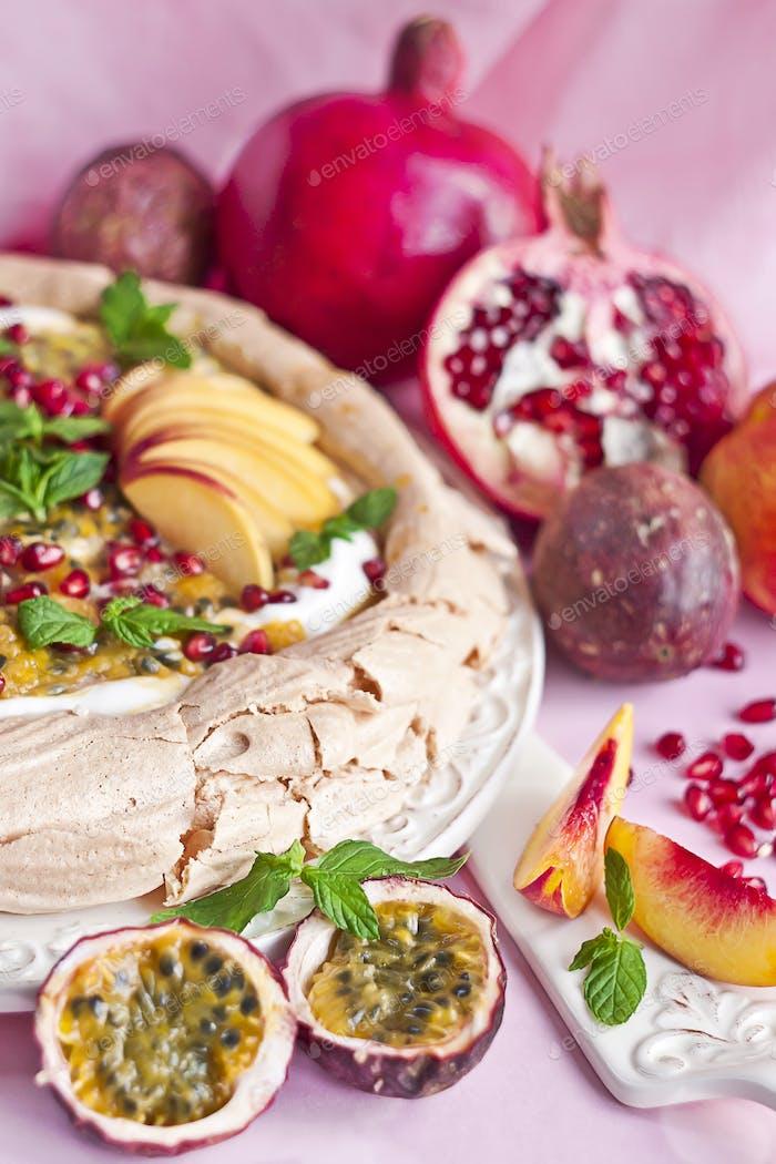 Pavlova with summer fruits
