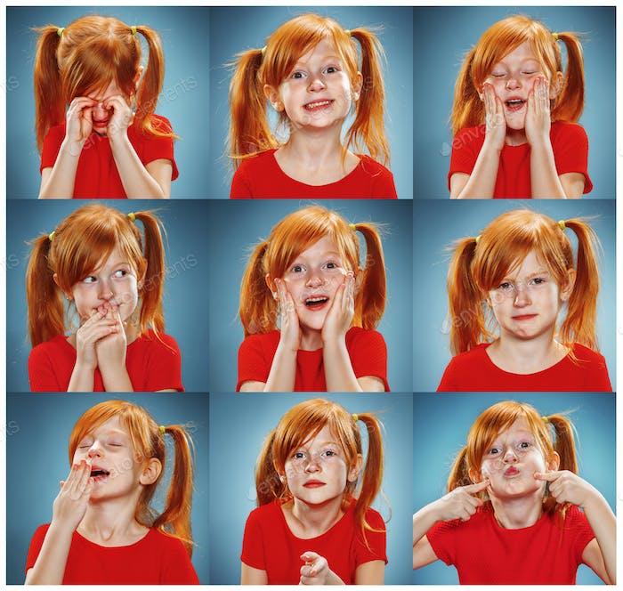 El collage de chica con diferentes emociones