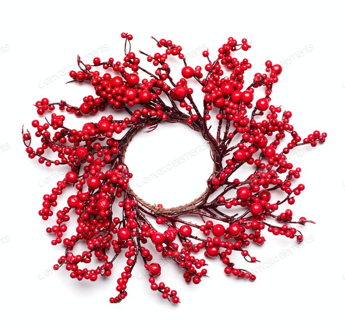 Weihnachts-Stechpalmen-Beerenkranz