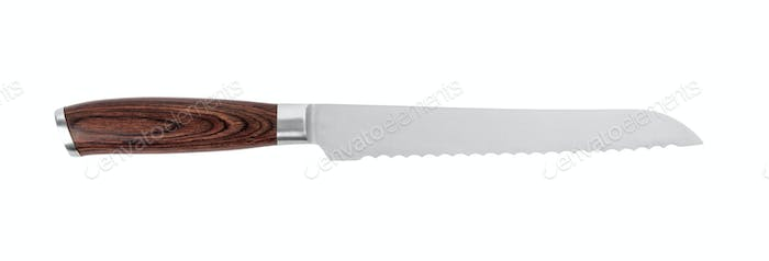 Bread knife on white background