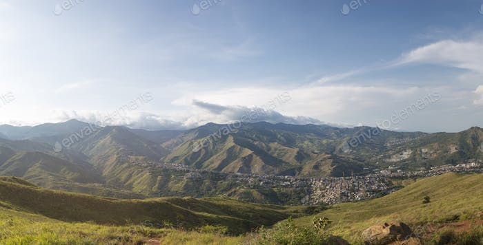 Daylight panorama cityscape of Cali, Colombia