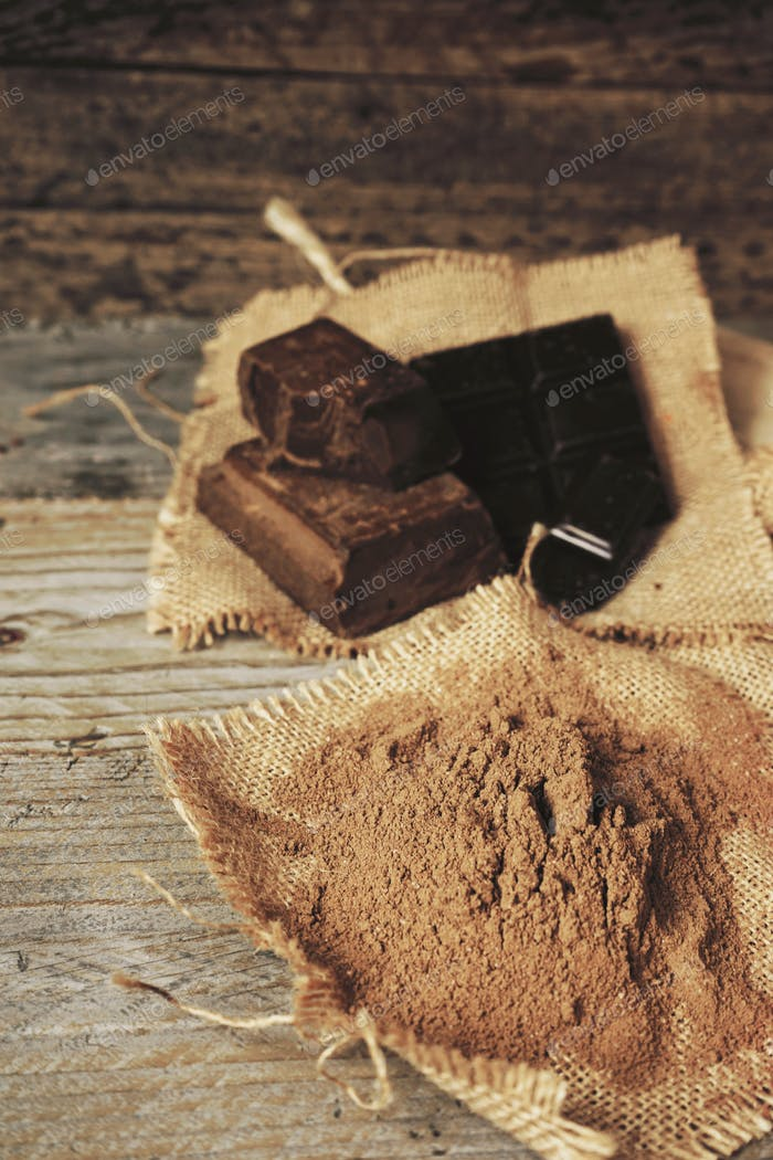 Mix of chocolates and cocoa powder