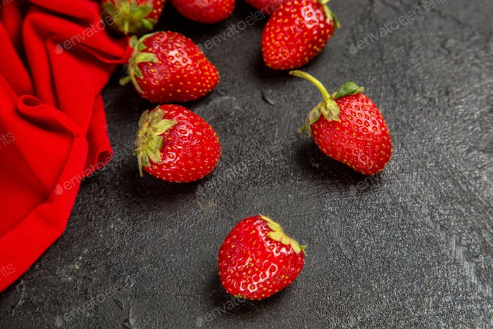 front view fresh red strawberries on dark background ripe fruit berry