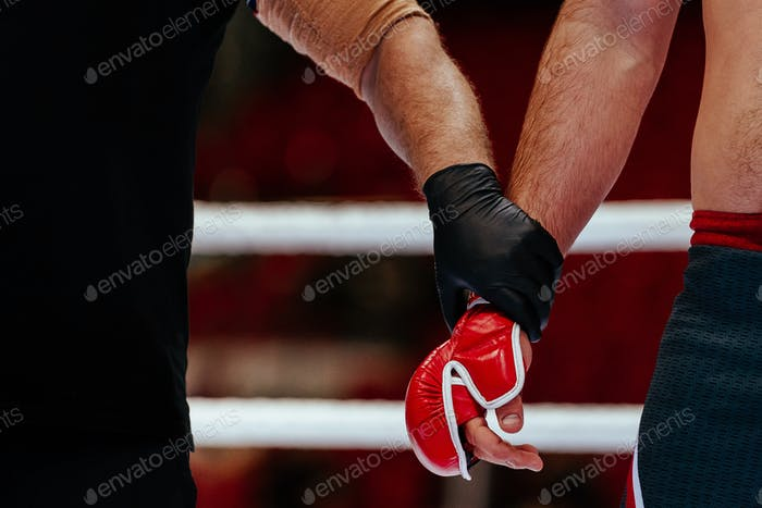 hands of referee and MMA fighter